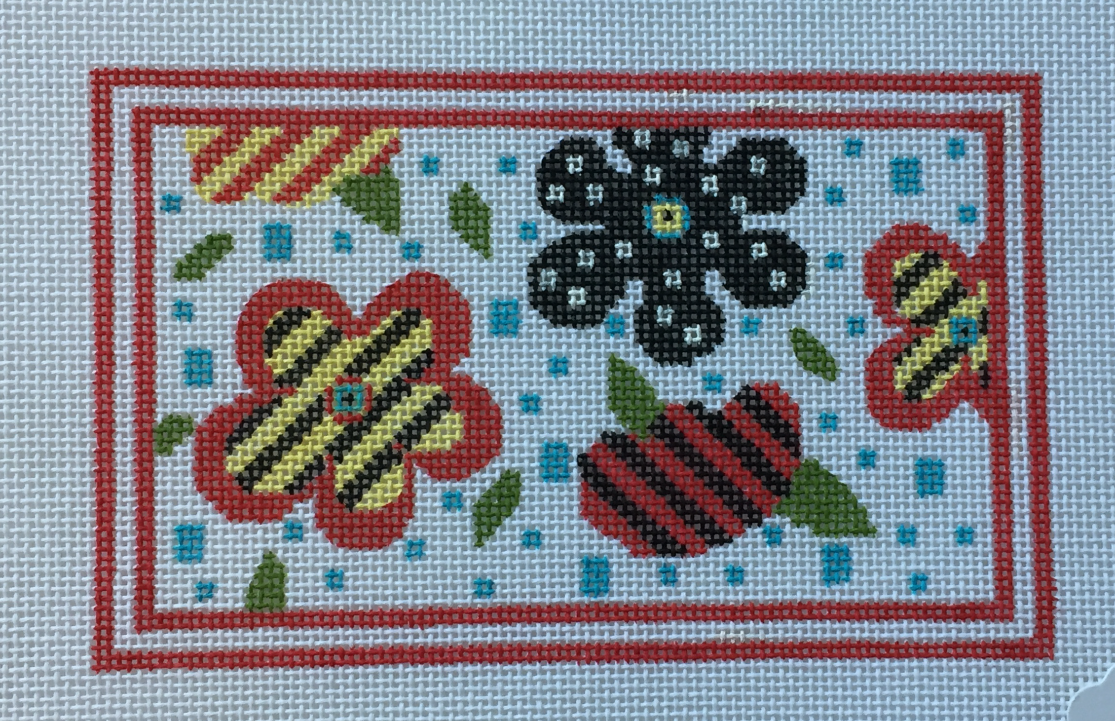 Floral with Red Border
